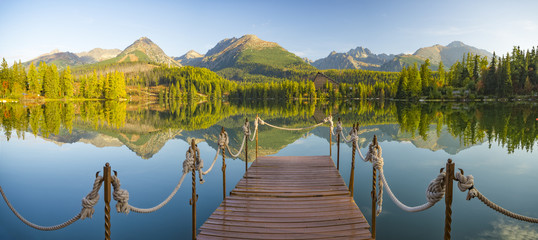 Fotomurales - high resolution panorama of a mountain lake in the Tatra Mountains, Strbske Pleso, Slovakia