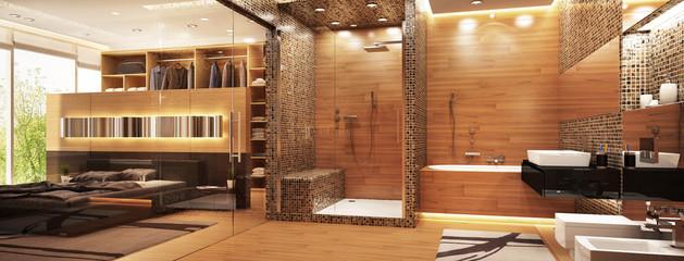 Big bathroom in bedroom