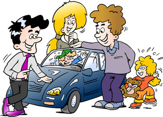 Cartoon Vector illustration of a family looking at a new auto car