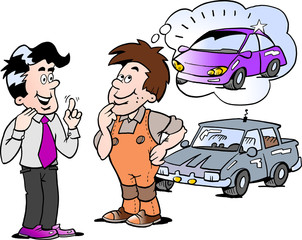 Cartoon Vector illustration of a young man there thinking of buying a new auto car
