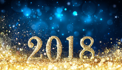 Wall Mural - Happy New Year 2018 - Glittering With Golden Dust