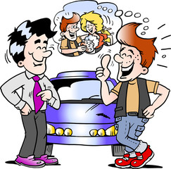 Cartoon Vector illustration of a young man there is so happy for his new auto car