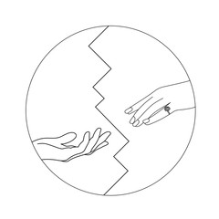 Notification of divorce concept. Ripped paper with man and woman silhouettes of hand symbolizing divorced couple..Vector available. Yin Yang symbol outline isolated