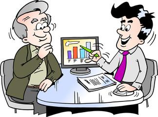 Cartoon Vector illustration of a older man looking at finance