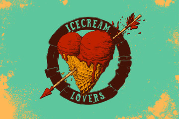 Heart shaped ice cream fnd arrow illustration.