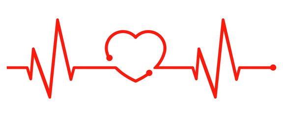 One line red pulse - vector for stock