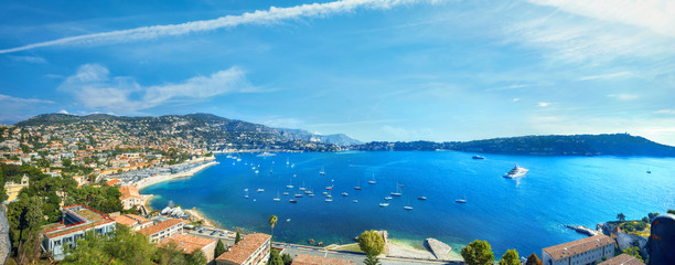 View of coastline and luxury resort town Villefranche-sur-Mer. Cote d'Azur, French riviera, France