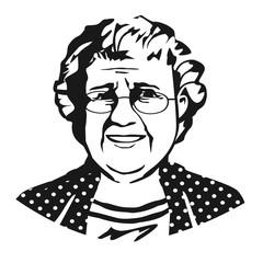 Скетч пожилой женщины в очках