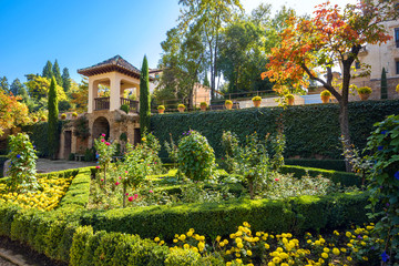 Alhambra palace gardens. Granada, Andalusia, Spain