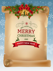 Christmas greeting card with jingle bells and old scroll paper