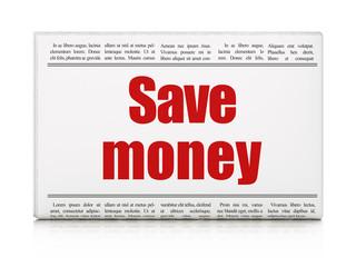 Money concept: newspaper headline Save Money on White background, 3D rendering