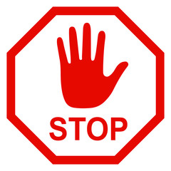 Stop sign icon with hand - stock vector