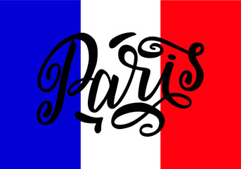 Handwritten inscription Paris on colors of the national flag of France. Hand drawn lettering. Calligraphic element for your design. Vector illustration for t-shirts, postcards or poster