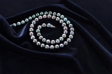 black pearl on dark blue velvet
