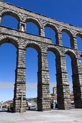 Close view of the aqueduct of Segovia