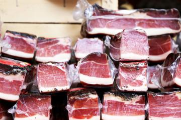 Different varieties of raw ham