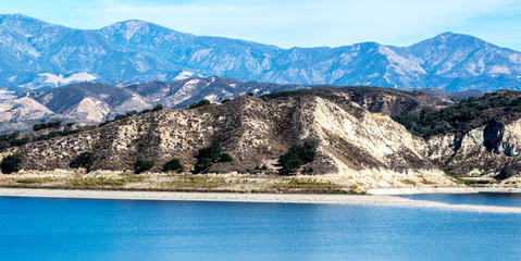 California's scenic Lake Cachuma with San Rafael Mountains in the distance
