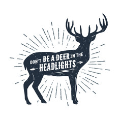 """Hand drawn deer textured vector illustration and """"Don't be a deer in the headlights"""" lettering."""