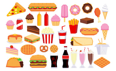 Set Of Cartoon Junk Food Isolated On White Background