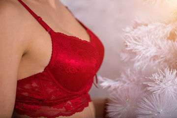 Close up of sexy woman with perfect chest in red bra. Beautiful girl indoors with Christmas tree.