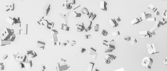3D rendering. Alphabet disintegrated in the air