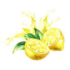 Lemon juice splash. Watercolor hand drawn illustration