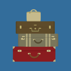 Four suitcases on a blue background. Vector illustration.