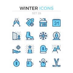 Winter icons. Vector line icons set. Premium quality. Simple thin line design. Modern outline symbols, pictograms