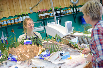 Service at the fish stall