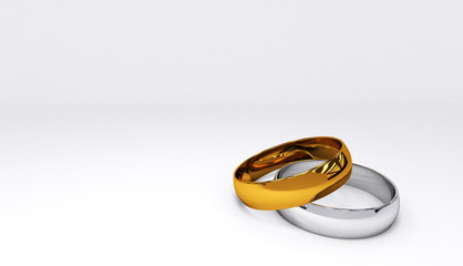 3d rendering of wedding rings on white background closeup. A pair of gold and silver wedding rings.