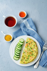Indian Masala Omelette with cucumbers