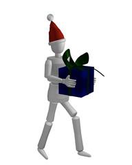 Marionettenfigur mit Weihnachtsmütze und Geschenk.