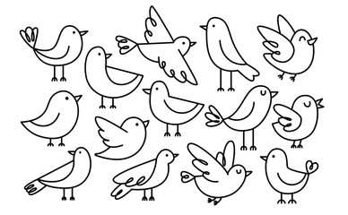 Set Of Cute Cartoon Birds Isolated On White Background