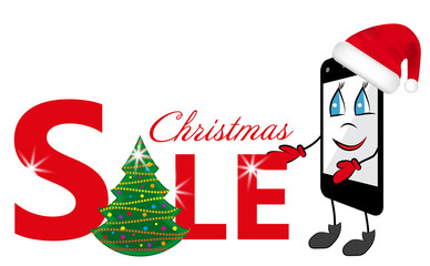 Cartoon Smartphone in red Santa Claus hat and sign sale with Christmas tree. Vector
