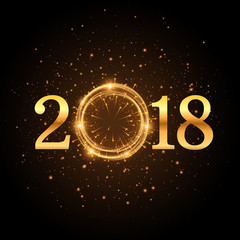 golden glitter 2018 background with sparkles