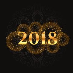 golden 2018 fireworks and sparkles background design