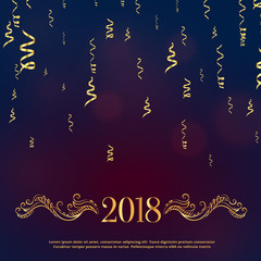 luxury style 2018 happy new year greeting with golden floral decoration