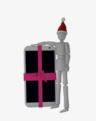 Marionettenfigur mit Weihnachtsmütze steht neben einem Handy mit pinker Schleife.