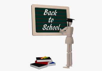Marionettenfigur schreibt auf eine Tafel Back to School.