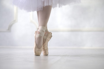 Ballerina dancing, closeup.