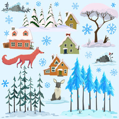 Merry Christmas and Happy New Year. 3d vector icon set