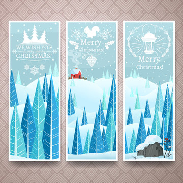Christmas banners template with winter lanscape