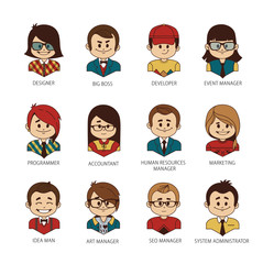 Set of round people icons your office team. Man and woman, boy and girl. Collection of professions in IT company.
