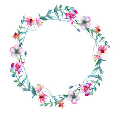 Wreath of wild flowers. Isolated on white background.