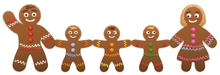 Gingerbread man family - father, mother and three children - cute and sweet christmas cookies.