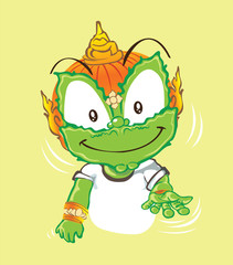 Smiling and say give me acting character design Thai cartoon