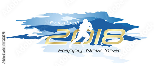 Football 2018 Happy New Year Logo Icon Watercolor Blue White