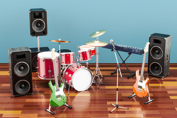 Set of different musical instruments and equipment in room on the wooden floor, 3D rendering
