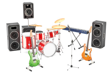Set of different musical instruments and equipment, 3D rendering