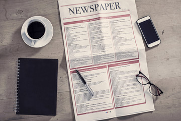 Newspaper on the business table